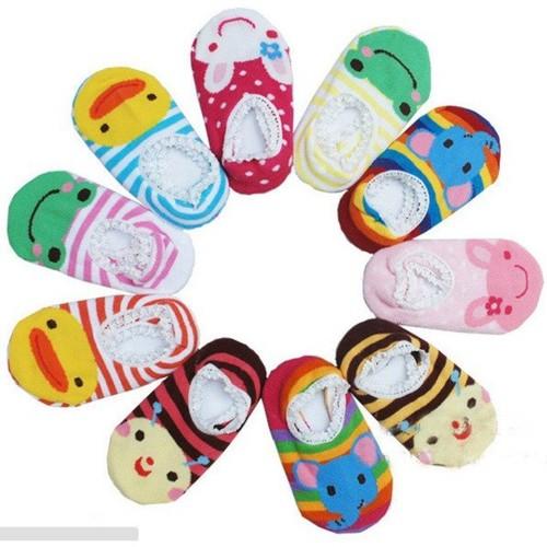 Bộ 10 tất trẻ em chống trơn hoạt hình cho bé tập đi 3-4 tuổi