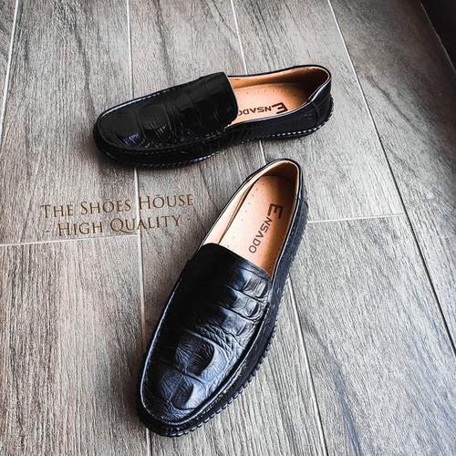 Giày Da Cá Sấu Được In Vân Từ Da Bò Thật Nguyên Tấm Cao Cấp Thiết Kế Hiện Đại The Shoes House K15DST