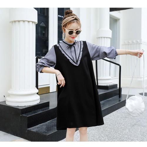 Đầm Bầu Thu Đông : Váy Dáng Yếm Kẻ Sọc Xanh -Tiểu Thư