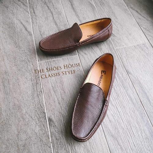 Giày Lười Nam Đẹp Da Bò Thật Nguyên Tấm Dễ Dàng Phối Đồ The Shoes House K19DST