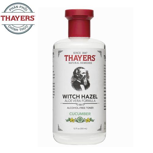 Nước hoa hồng không cồn THAYERS Alcohol-Free Cucumber Witch Hazel Toner 355ml Hương dưa leo - Dành cho da nhờn và da mụn