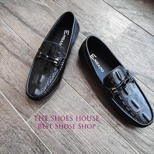 Giày Lười Nam Đẹp Da Bò Nguyên Tấm In Vân Cá Sấu Đẳng Cấp Cá Tính The Shoes House K13DST