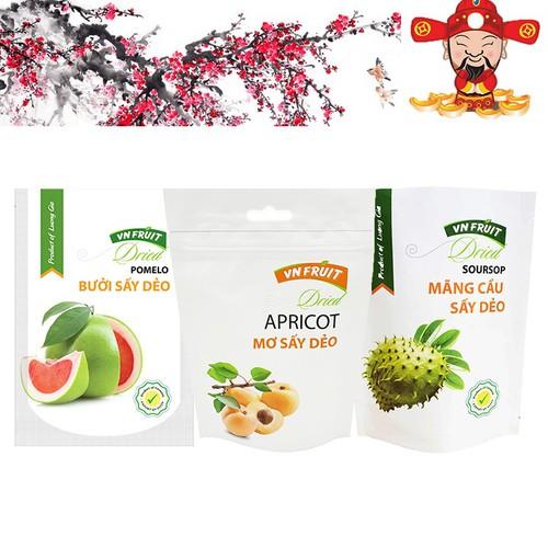Combo 3 Gói Trái Cây Sấy Dẻo VN Fruit loại 100g : Mơ,Bưởi,Mãng Cầu - 7315057 , 13981428 , 15_13981428 , 179000 , Combo-3-Goi-Trai-Cay-Say-Deo-VN-Fruit-loai-100g-MoBuoiMang-Cau-15_13981428 , sendo.vn , Combo 3 Gói Trái Cây Sấy Dẻo VN Fruit loại 100g : Mơ,Bưởi,Mãng Cầu