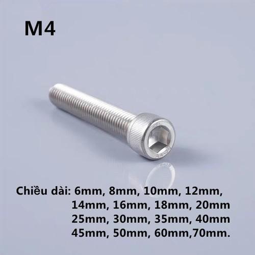 Bộ bulông lục giác chìm đầu trụ inox 304-M4