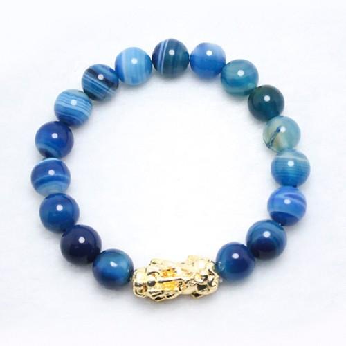 Vòng đá mã não xanh vân trắng MS245 - 12 ly, vòng tay phong thủy cho người mệnh Thủy, mệnh Mộc, mệnh thổ nam và nữ