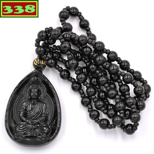 Vòng cổ mặt Phật Dược sư Như lai thạch anh đen 4 cm DHEDS9