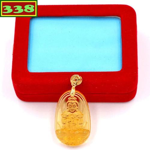 Mặt dây chuyền Phật Đại Nhật như lai pha lê vàng 3.6 cm MFBV5 hộp nhung phật bản mệnh tuổi Mùi, Thân