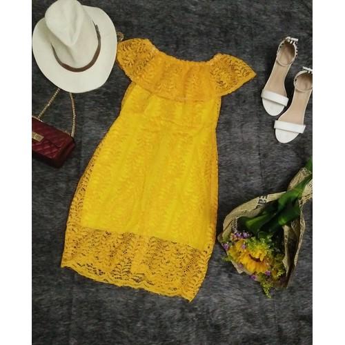 Đầm ren bẹt vai