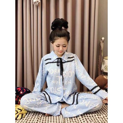bộ pijama lụa cao cấp phối ren