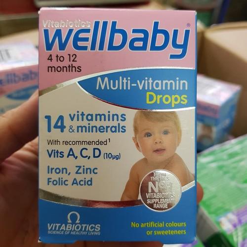 Vitamin Tổng Hợp Wellbaby Drops Cho Bé Từ 4-12 Tháng, 30ml