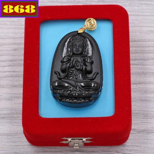 Mặt Phật Như lai Đại nhật - thạch anh đen 4.3cm - kèm hộp nhung - tuổi Mùi, Thân