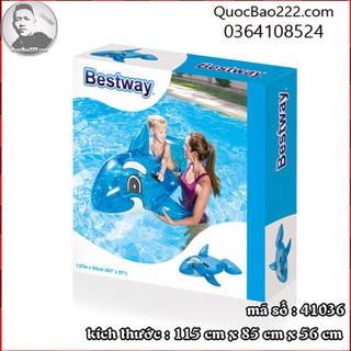 Phao bơi cá voi xanh 1.17m x 71cm Bestway kèm bản vá sửa chữa 41036 - d41036 thumbnail