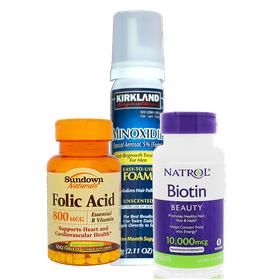 Combo Minoxidil dạng Foam kèm Biotin và Folic Thuốc kích thích mọc râu tóc - ComboMino.Foam Và Biotin Folic