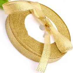 Ruy băng kim tuyến - màu vàng bản 20mm, ruy băng gói quà màu trơn - phụ kiện trang trí