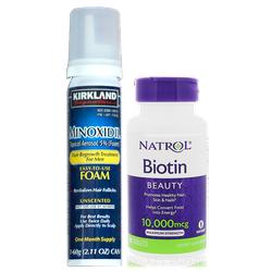 Combo Minoxidil dạng Foam và Biotin Thuốc kích thích mọc râu tóc