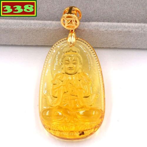 Mặt dây chuyền Phật Đại Nhật như lai pha lê vàng 3.6 cm MFBV5 - Phật bản mệnh tuổi Mùi, Thân