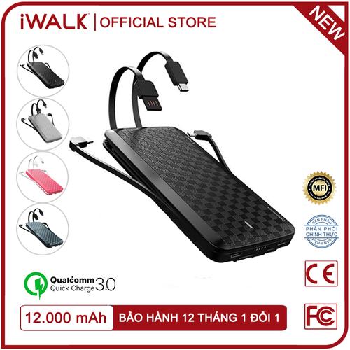 [ tặng túi chống sốc ] pin dự phòng iwalk scorpion x 12000mah hỗ trợ quick charge 3.0 - ubt12000x