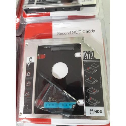 Caddy bay mỏng 9.5mm , dày 12.7mm khay gắn ổ cứng thứ 2 cho laptop