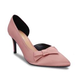 Giày cao gót bít mũi khoét hông đính nơ Girlie màu hồng S30045