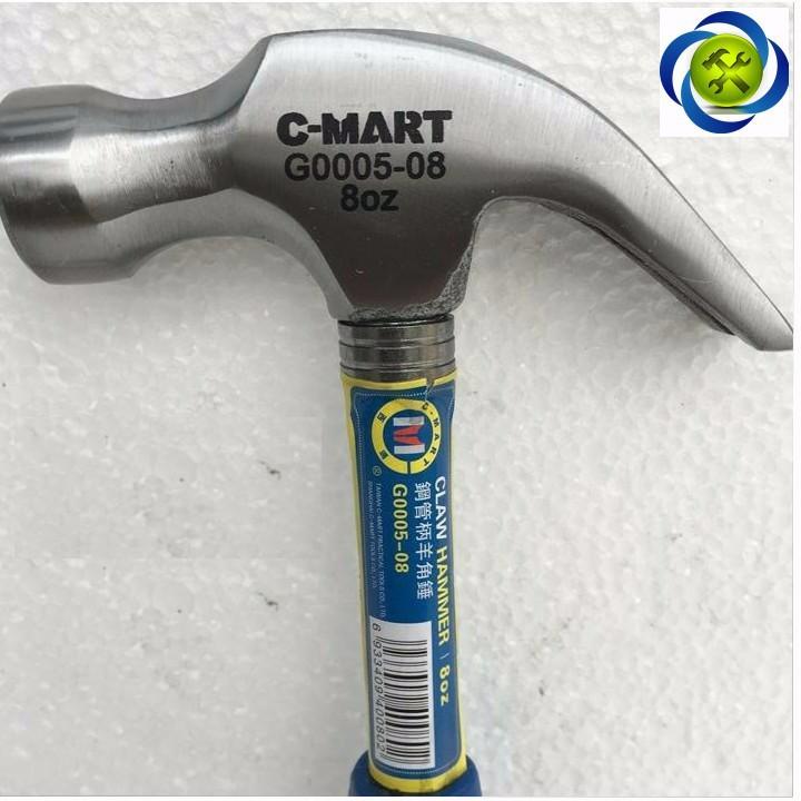 Búa nhổ đinh cán sắt C-Mart G0005-8 8oz nặng 226 grams 2