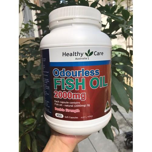 Dầu cá úc healthy care odourless fish oil  2000mg 400 viên