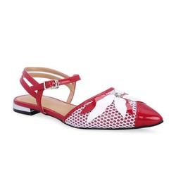 Giày búp bê mũi nhọn dây quai cổ chân Girlie màu đỏ S20004