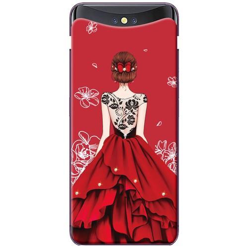 Ốp lưng nhựa dẻo Oppo. Find X váy đỏ ren lưng
