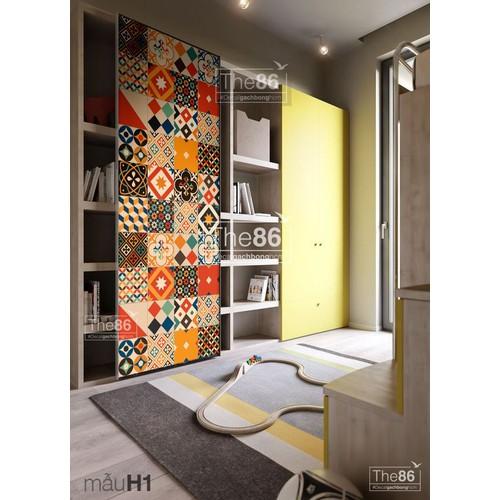 Decal gạch bông tone ấm dán tường