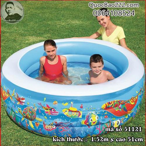 Bể Bơi Phao Tròn Lớn Cực Bền kích thước 1.52m x 51cm Bestway 51121