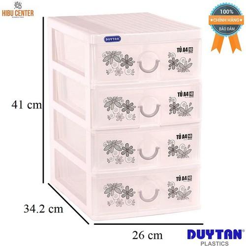 Tủ nhựa Duy Tân A4 - 4 ngăn nắp bằng 26 x 34.2 x 41cm No. 343-4