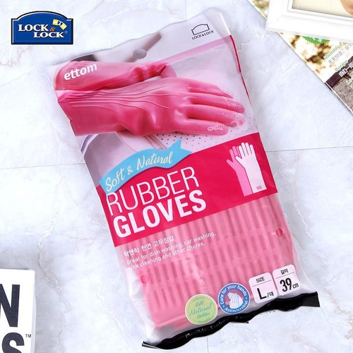 Găng tay cao su tự nhiên Lock&Lock size M 37cm màu hồng
