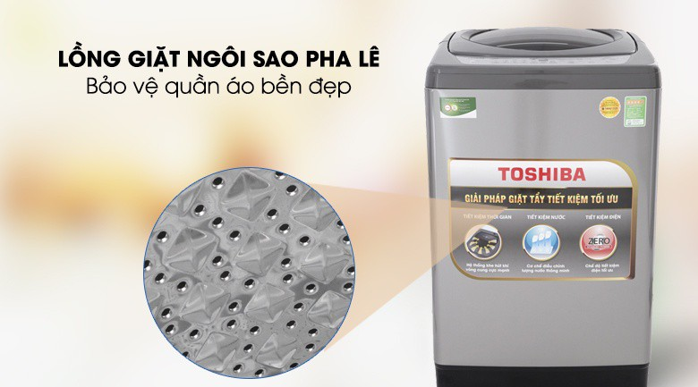 Lồng giặt ngôi sao pha lê - Máy giặt Toshiba 10 Kg AW-H1100GV SM