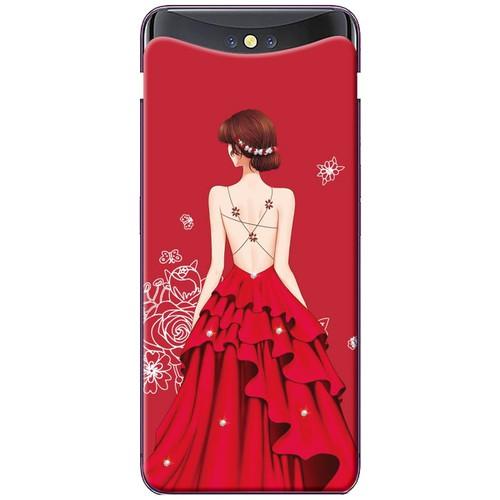 Ốp lưng nhựa dẻo Oppo. Find X Váy đỏ nền đỏ