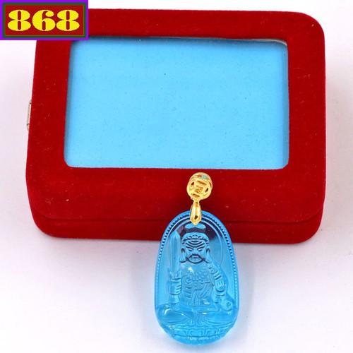 Mặt dây đeo Phật Bất động minh vương xanh 3.6 cm MFBXB1 kèm hộp nhung