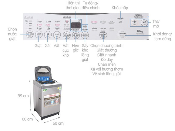 Khối lượng giặt - Máy giặt Toshiba 10 Kg AW-H1100GV SM