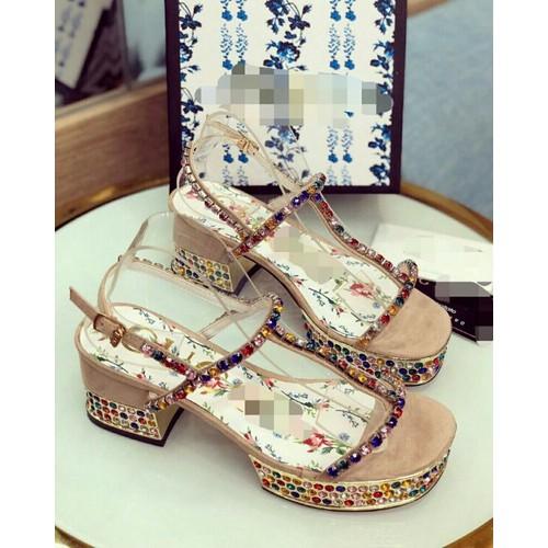 giày sandal cao gót phối đá