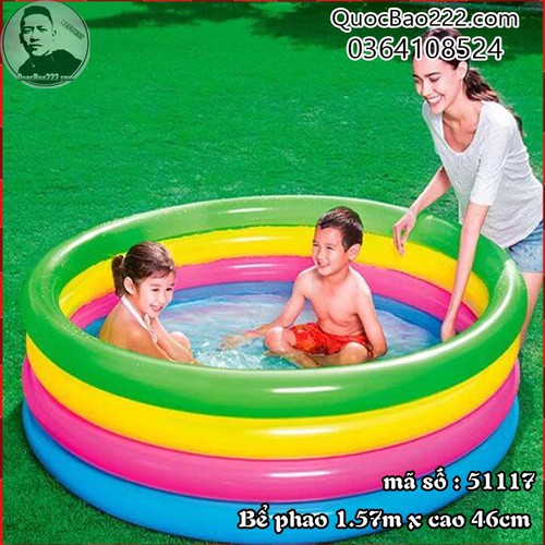 Bể Bơi Phao Tròn Lớn 4 tầng Cực Bền kích thước 1.57m x 46 cm Bestway 51117