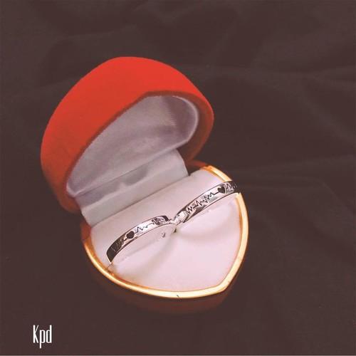 Nhẫn bạc đôi cao cấp hình nhịp tim kèm hộp