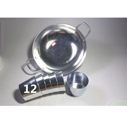Combo 1 Chảo Chiên Xào 42CM và Bộ 10 Ly, Chung Làm Đá Tủ Lạnh 12CM Size Lớn