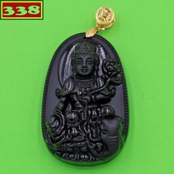 Mặt dây chuyền Phật bồ tát Phổ hiền thạch anh đen 5 cm - Phật bản mệnh tuổi Thìn, Tỵ