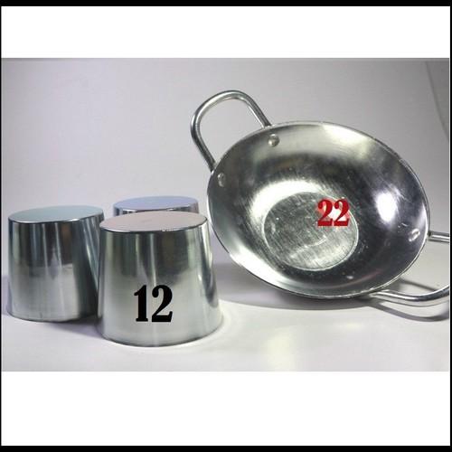 Combo 1 Chảo Chiên Xào 22cm và Bộ 10 Ly, Chung Làm Đá Tủ Lạnh 12CM Size lớn