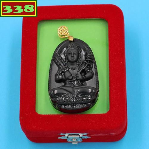 Mặt dây chuyền Phật Hư Không Tạng thạch anh đen 5 cm kèm hộp nhung - Phật bản mệnh tuổi Sửu, Dần