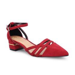 Giày cao gót bít mũi đế vuông Girlie màu đỏ S33022