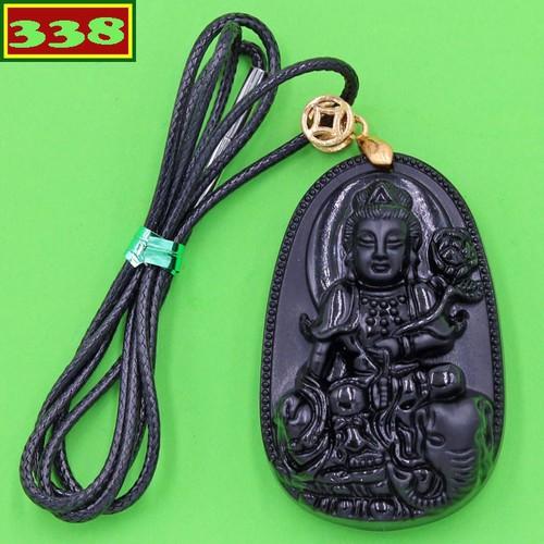 Vòng cổ Bồ tát Phổ hiền 5cm thạch anh đen AB2 - Phật bản mệnh tuổi Thìn, Tỵ
