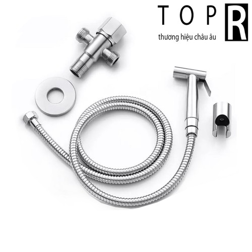 Combo vòi xịt vệ sinh inox, vòi xịt bồn cầu inox và van nước chữ thập TOP R - Tặng đế cài