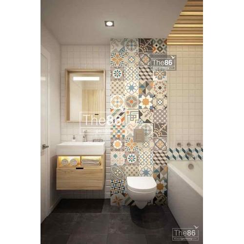 Decal gạch bông tone ấm dán nhà tắm
