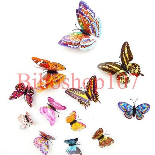 Bộ 12 bướm 3D trang trí tủ lạnh hoặc dán tường