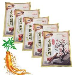Combo 5 Gói Kẹo Sâm Cành Đào Không Đường Hàn Quốc túi 200g