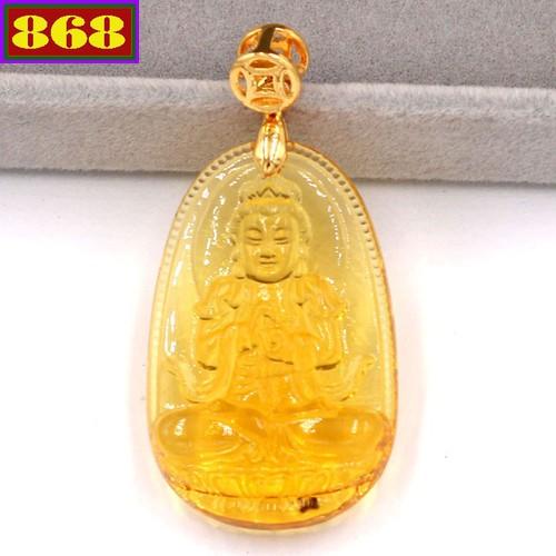 Mặt dây đeo Phật Đại Nhật như lai pha lê vàng 3.6 cm MFBV5