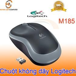 Chuột không dây Logitech M185 đen viền xám tiết kiệm pin nhấn êm chính hãng DGW phân phối